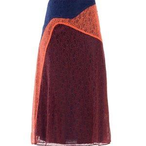 NWT TORY BURCH KAISA Colorblock Lace Midi Skirt 8